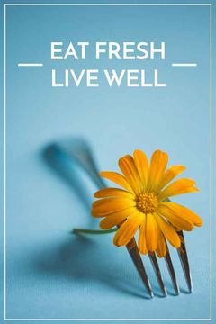 Healthy Food Quote Flower on Fork | Tumblr Graphics Template