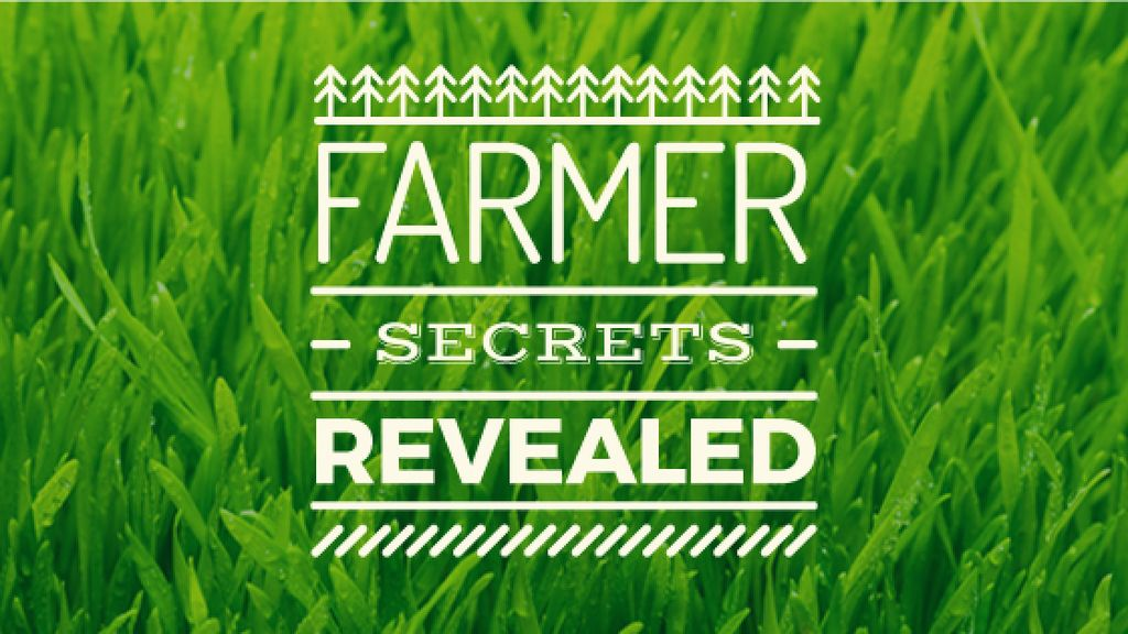 farmer secrets revealed poster on green grass background — Створити дизайн