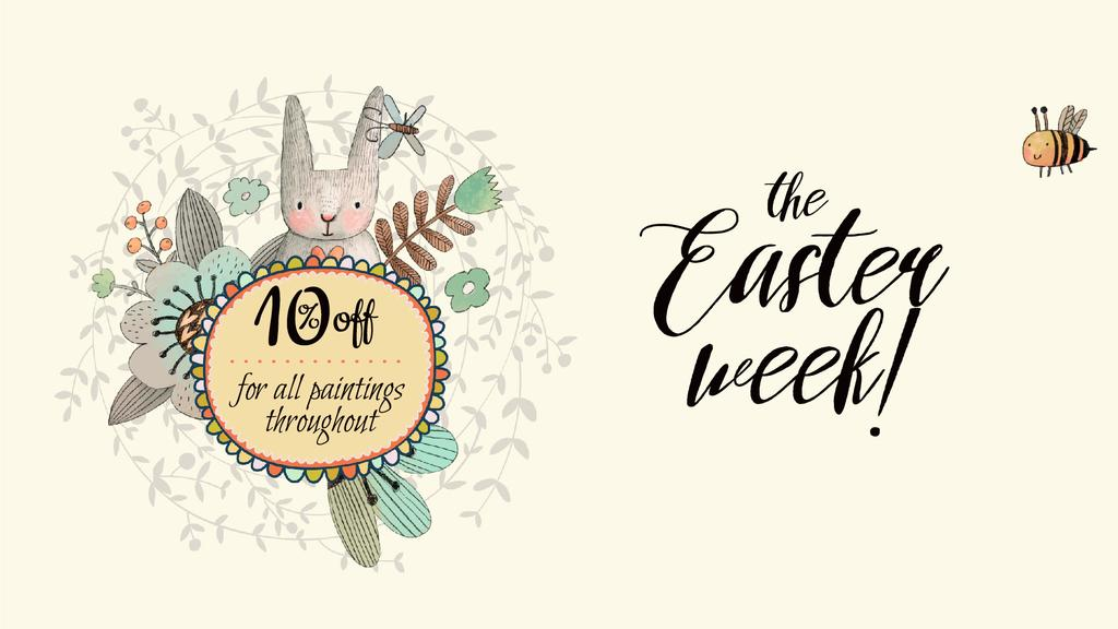 Easter Promotion Bunny with Flowers Frame — Створити дизайн