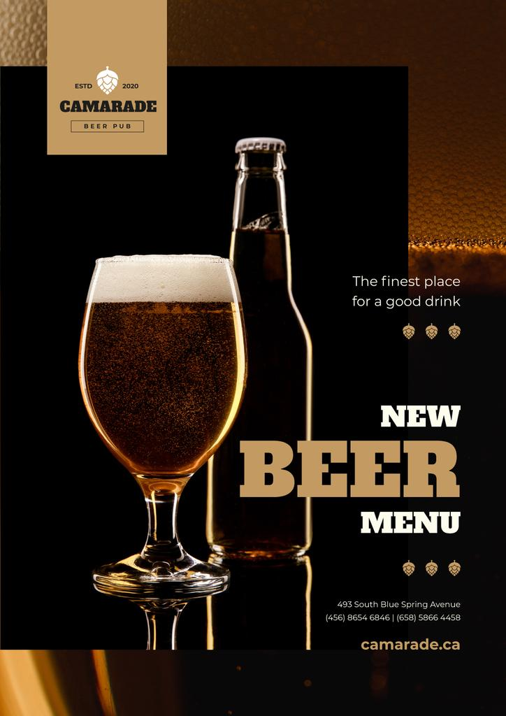 Beer Offer with Lager in Glass and Bottle — Modelo de projeto