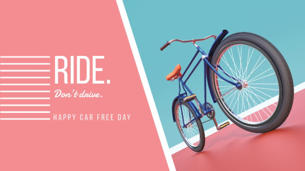 happy car free day poster with bicycle — Créer un visuel