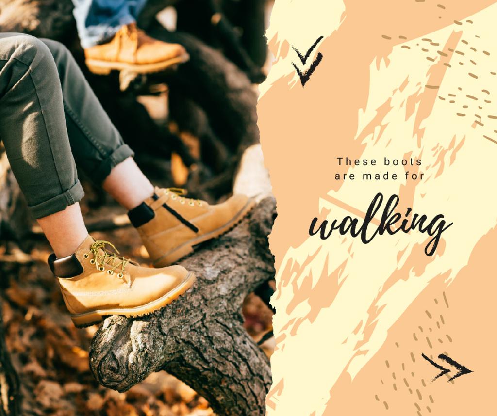 Man in boots hiking outdoors Facebook Tasarım Şablonu