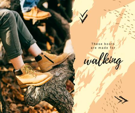 Ontwerpsjabloon van Facebook van Man in boots hiking outdoors