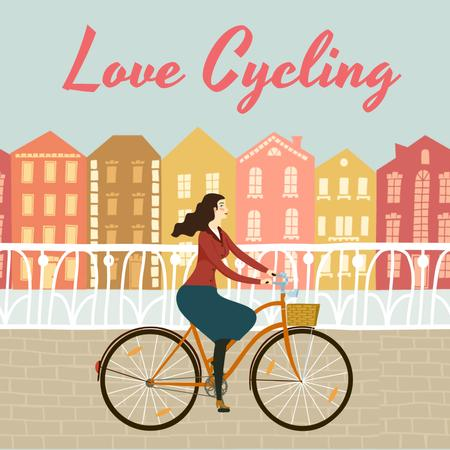 Girl Riding Bicycle in City Animated Postデザインテンプレート
