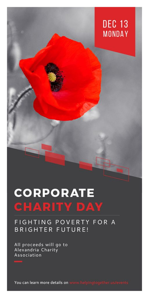 Corporate Charity Day announcement on red Poppy — Створити дизайн