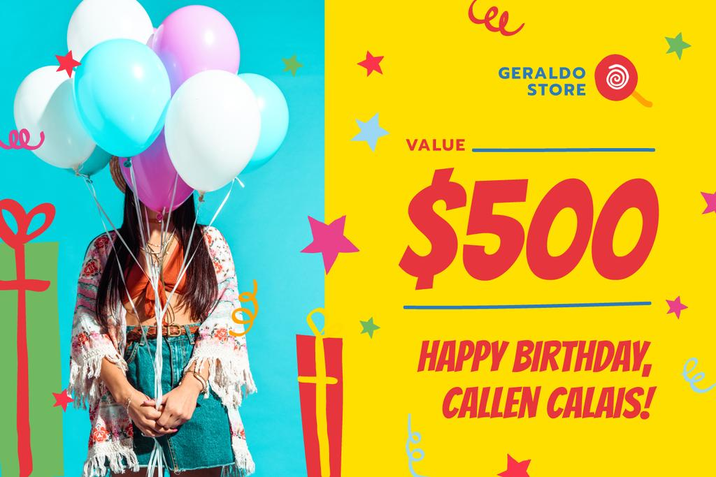 Birthday Sale with Girl with Balloons — Create a Design