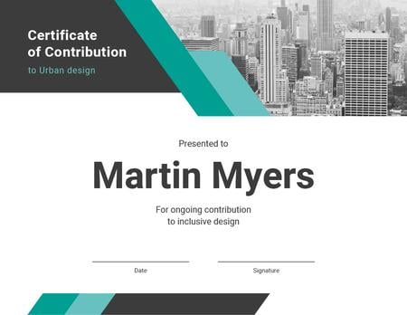 Inclusive urban design Contribution gratitude Certificate Design Template