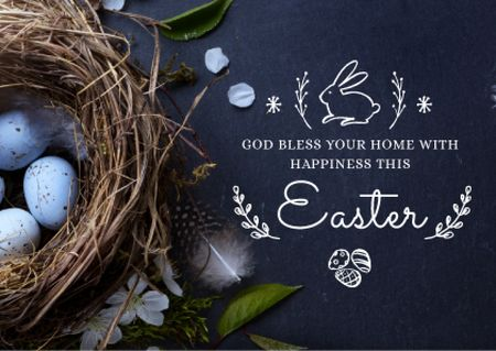 Easter Greeting Neat with Eggs in Blue Postcard Modelo de Design