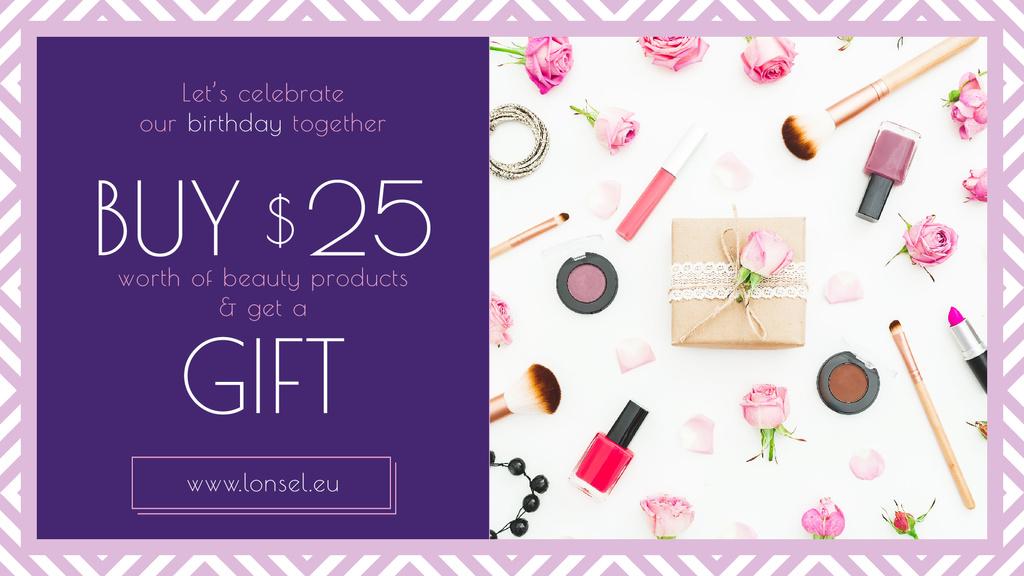 Birthday Offer Cosmetics Set in Pink — Modelo de projeto