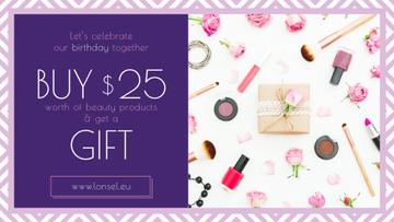 Birthday Offer Cosmetics Set in Pink | Facebook Event Cover Template