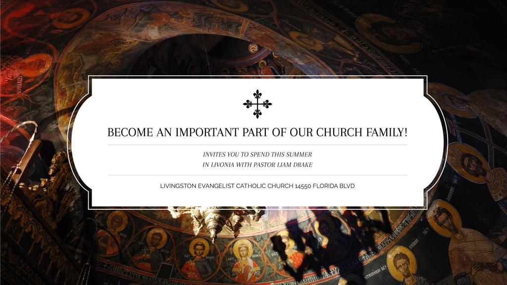 Church Invitation Old Cathedral View — Modelo de projeto