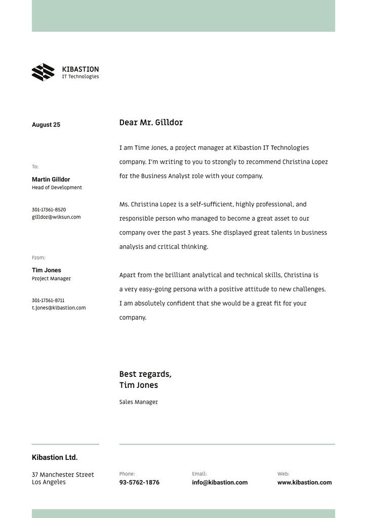IT company employee Recommendation Letterhead Design Template