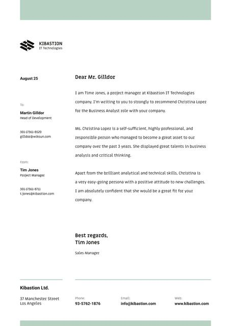 IT company employee Recommendation Letterhead Modelo de Design