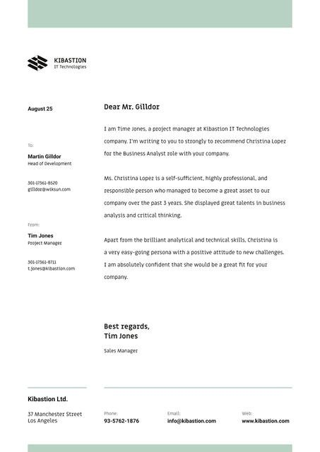 Template di design IT company employee Recommendation Letterhead