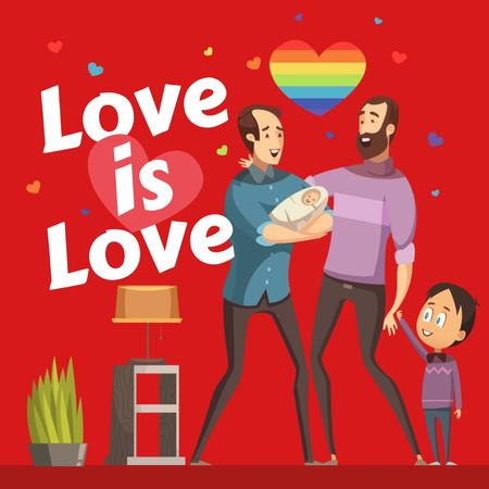 Template di design LGBT parents with children on Pride Month Instagram