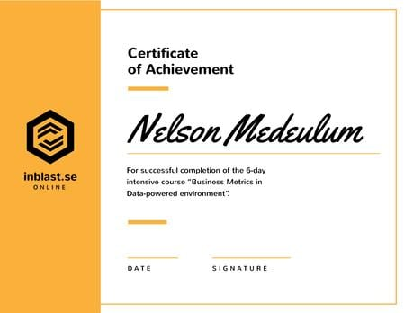 Business Course program Achievement in yellow Certificate Design Template