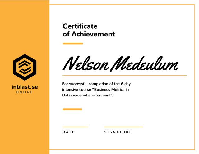 Business Course program Achievement in yellow Certificate Design Template