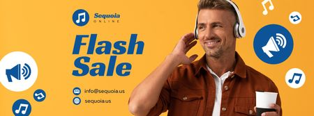 Ontwerpsjabloon van Facebook cover van Flash Sale Offer Man in Headphones