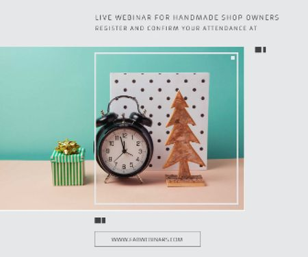 Template di design Live webinar for handmade shop owners Large Rectangle