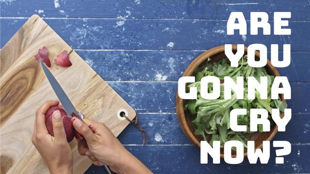 Plantilla de diseño de Cooking Recipe Woman Peeling Onion Full HD video