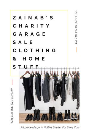 Ontwerpsjabloon van Pinterest van Charity Sale Announcement with Black Clothes on Hangers