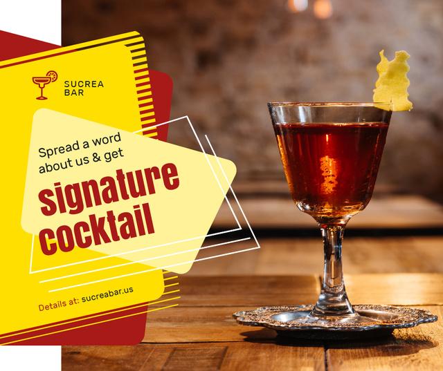 Modèle de visuel Bar Promotion Glass with Cocktail - Facebook