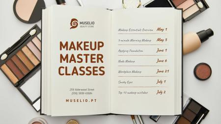 Makeup Masterclass with Cosmetic products and notebook FB event cover Modelo de Design