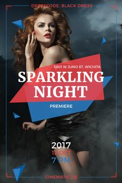 Night Party Invitation Woman in Glamorous Outfit | Pinterest Template
