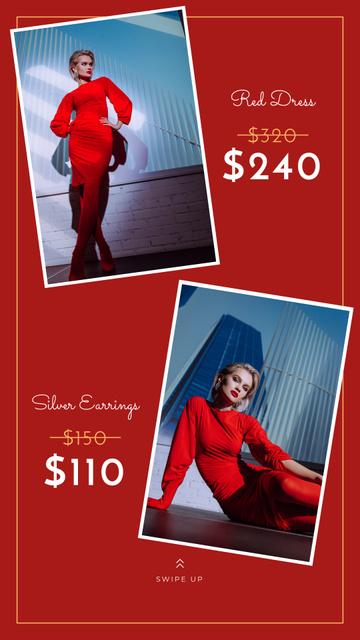 Modèle de visuel Fashion Store Ad Woman in Red Dress - Instagram Story