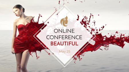 Plantilla de diseño de Beauty Event ad with Young attractive Woman FB event cover
