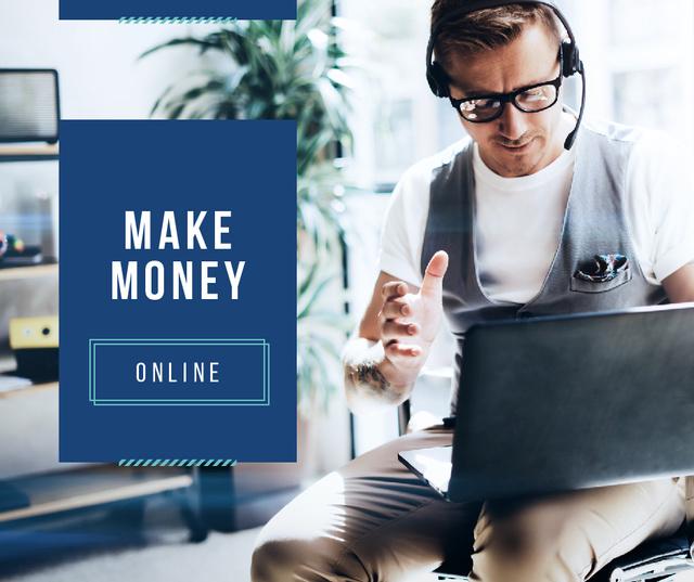 Modèle de visuel Confident Man in Headset working on laptop - Facebook