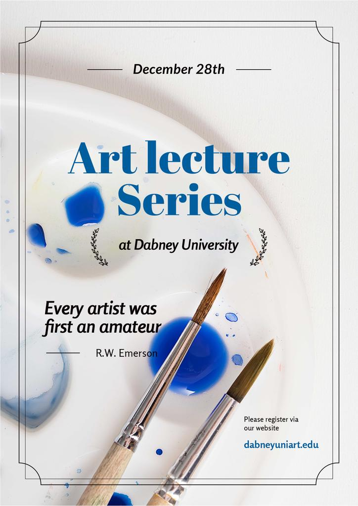 Art Lecture Series Brushes and Palette in Blue — Créer un visuel
