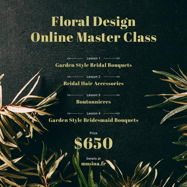 Floral Design Masterclass Ad Leaves Frame Instagram – шаблон для дизайну