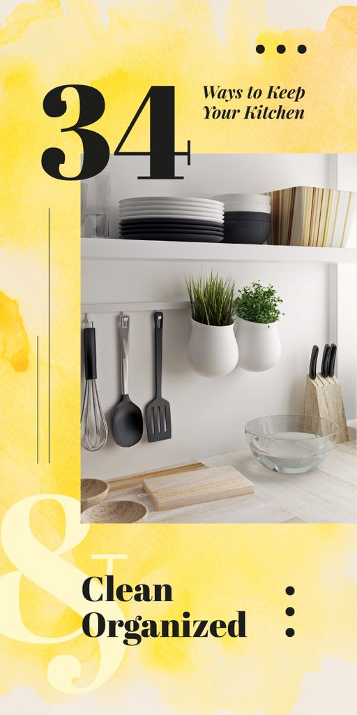 Kitchen utensils on shelves — Modelo de projeto
