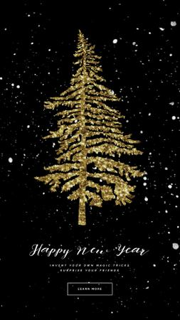 Plantilla de diseño de Glittery Golden Christmas tree Instagram Video Story
