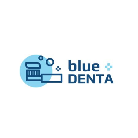 Dental Clinic with Toothbrush Icon in Blue Logo Tasarım Şablonu