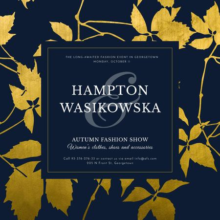 Autumn Fashion show announcement on golden leaves Instagram AD – шаблон для дизайну