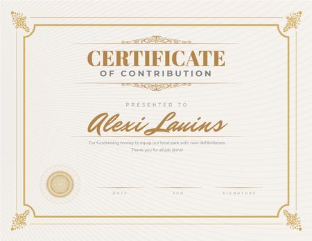 Template di design Charity fundraising program Contribution gratitude Certificate