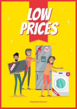Template di design People with new appliances Poster