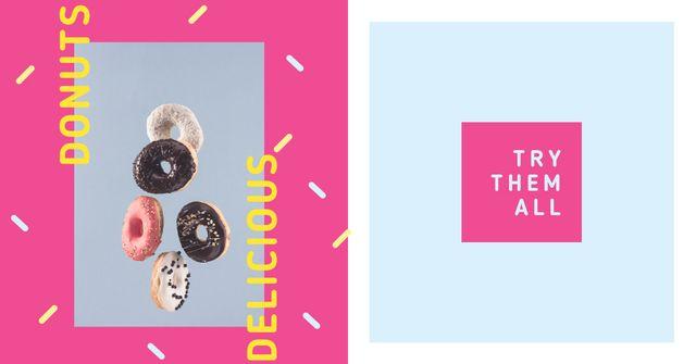 Sweet Glazed Donuts in Pink Frame Facebook AD – шаблон для дизайну