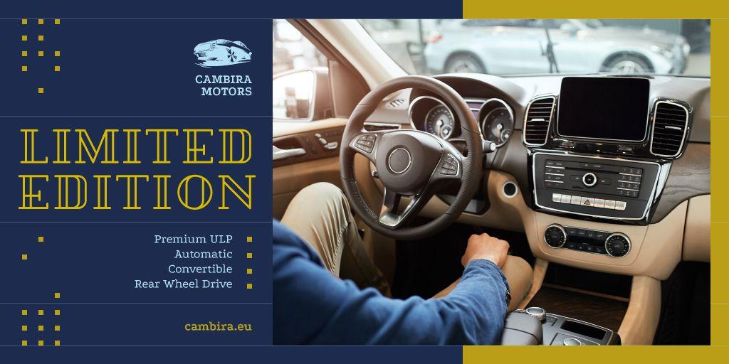 Man Driving Car with Modern Dashboard — Crear un diseño