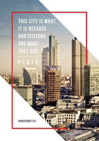 Citation about city and citizens Poster – шаблон для дизайна