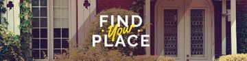 Find your place Quote with cozy house on background