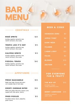 Bar Drinks and Appetizers