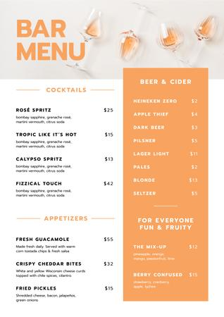 Plantilla de diseño de Bar Drinks and Appetizers Menu
