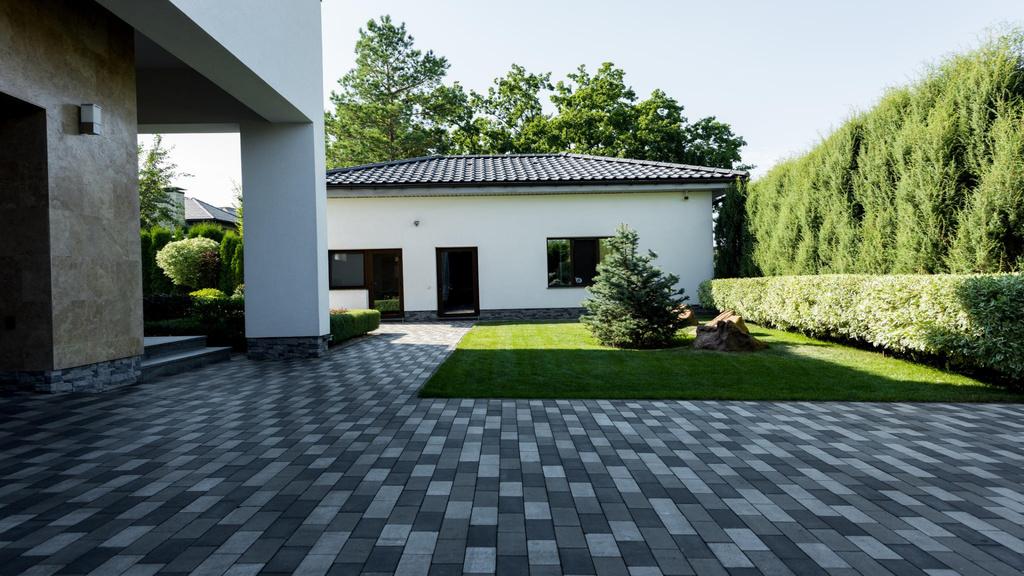 Landscape Design of Home yard Zoom Background – шаблон для дизайна