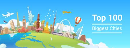 Plantilla de diseño de Famous cities attractions Facebook cover