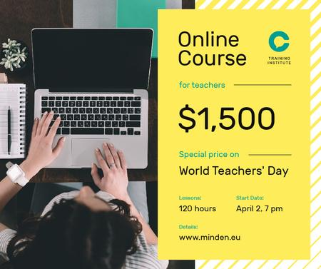 World Teachers' Day Offer Woman Typing on Laptop Facebook Modelo de Design