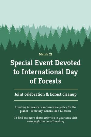 Plantilla de diseño de International Day of Forests Event Announcement in Green Pinterest