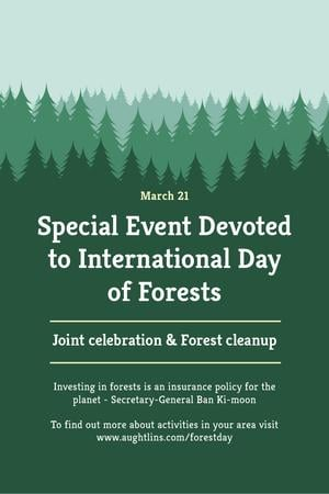 International Day of Forests Event Announcement in Green Pinterest Modelo de Design